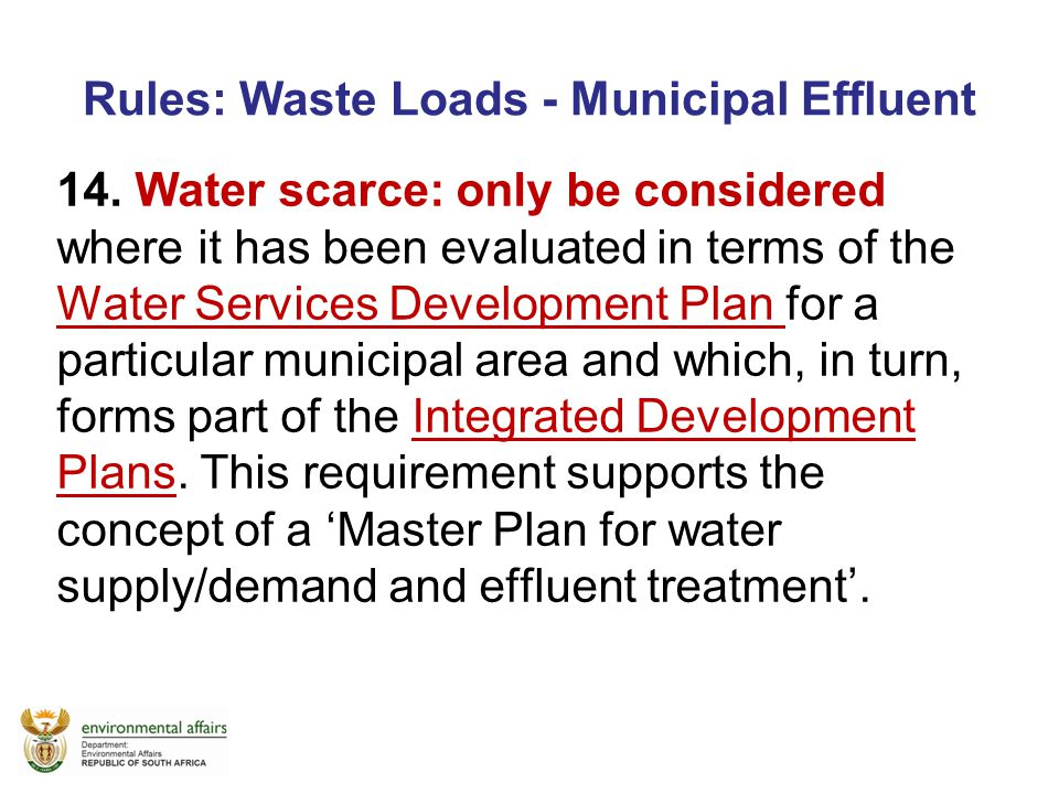 Rules: Waste Loads - Municipal Effluent