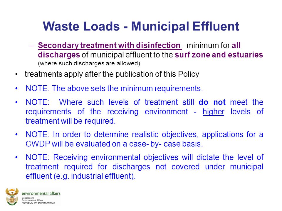 Waste Loads - Municipal Effluent