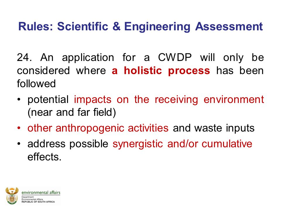 Rules: Scientific & Engineering Assessment