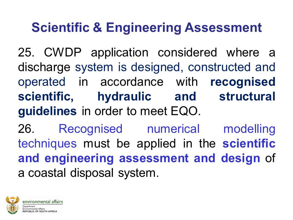 Scientific & Engineering Assessment
