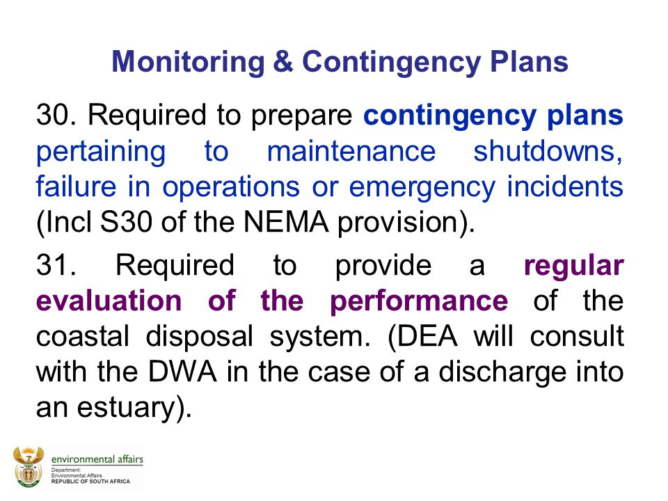 Monitoring & Contingency Plans
