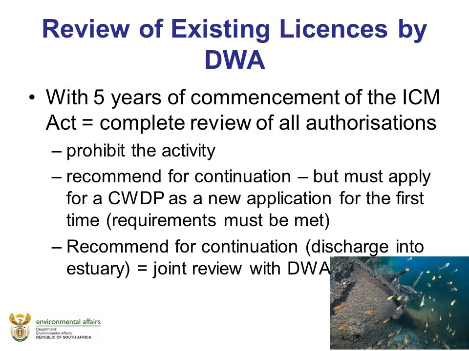 Review of Existing Licences by DWA