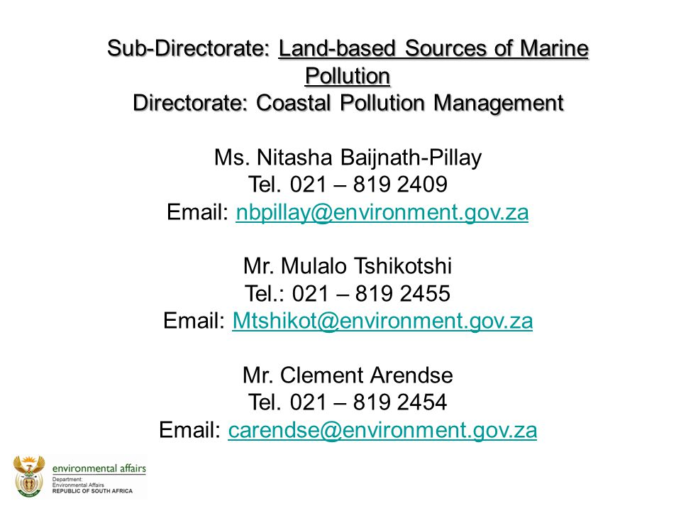 Sub-Directorate: Land-based Sources of Marine Pollution