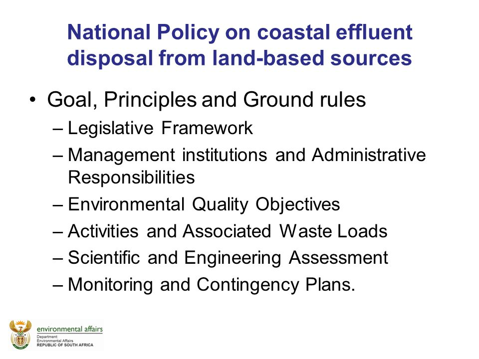 National Policy on coastal effluent disposal from land-based sources