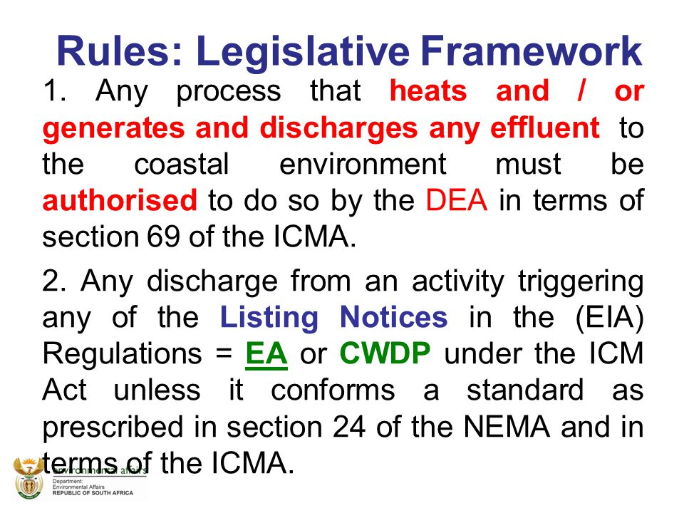 Rules: Legislative Framework