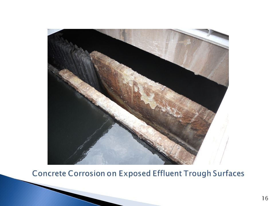 Concrete Corrosion on Exposed Effluent Trough Surfaces