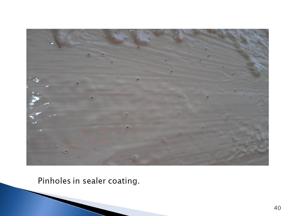 Spark testing to detect defects and pinholes in sealer coating.