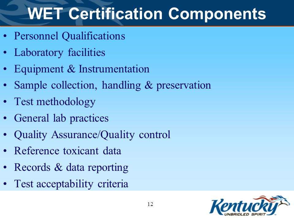 WET Certification Components