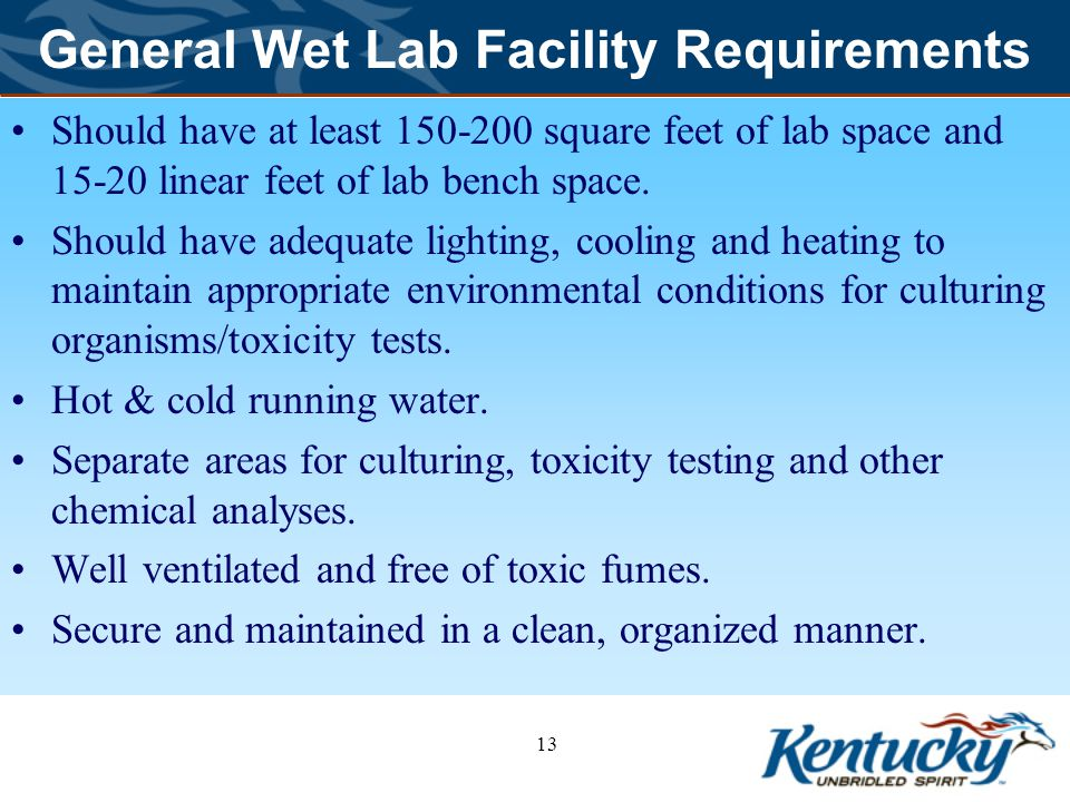 General Wet Lab Facility Requirements