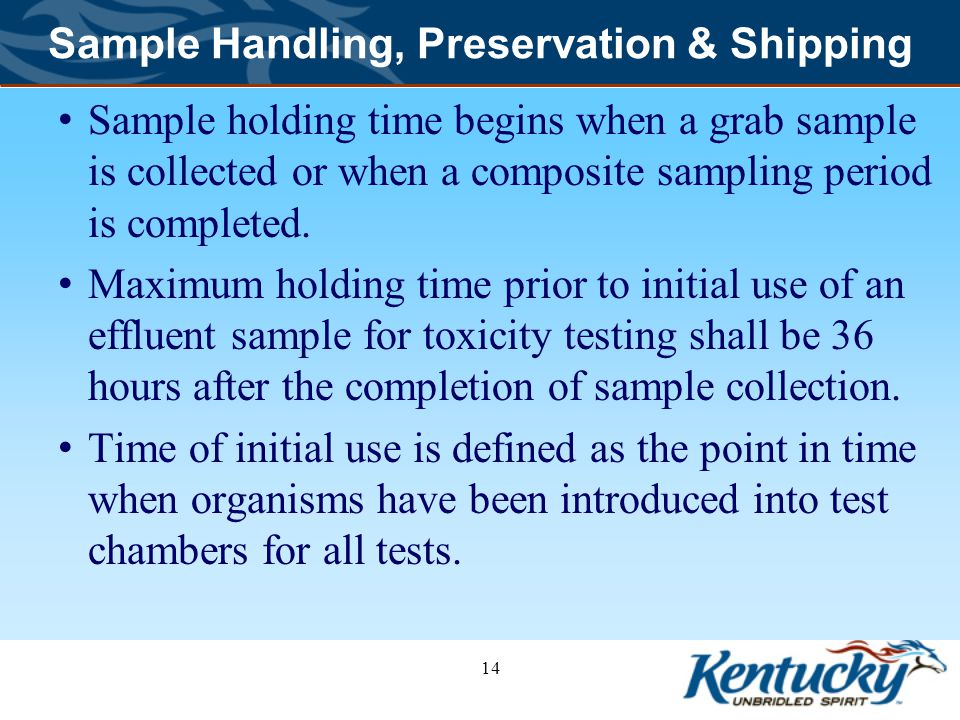 Sample Handling, Preservation & Shipping
