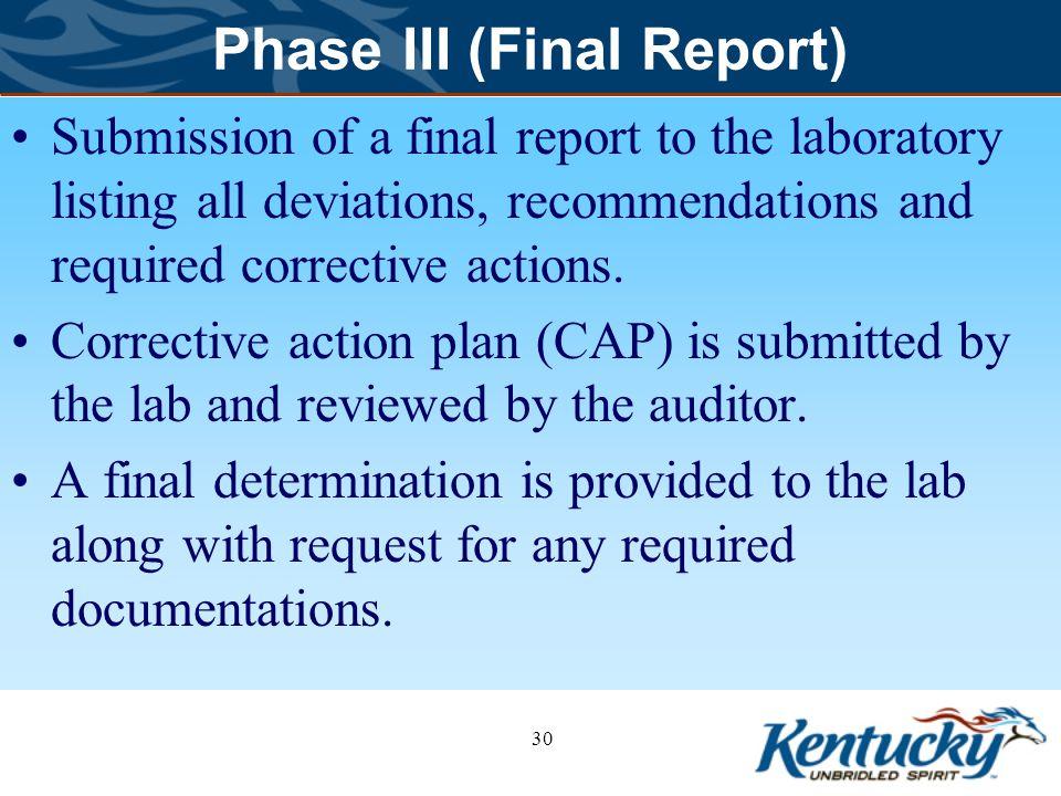 Phase III (Final Report)