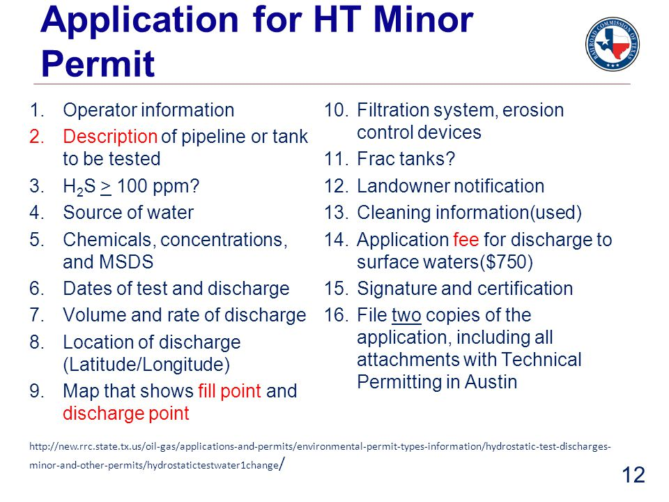 Application for HT Minor Permit