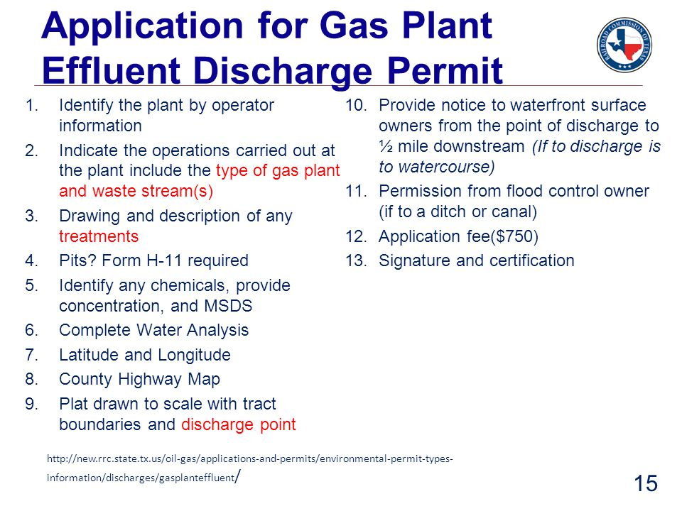 Application for Gas Plant Effluent Discharge Permit