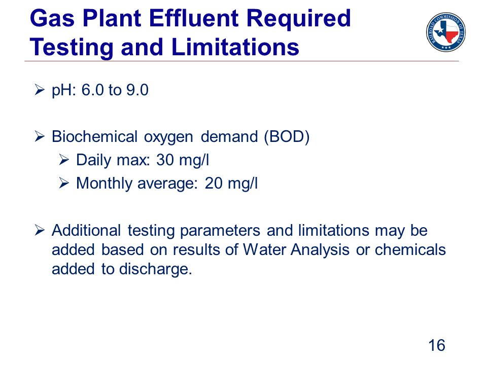 Gas Plant Effluent Required Testing and Limitations