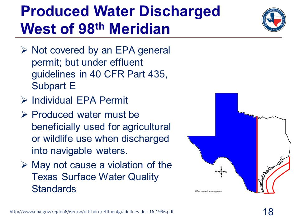 Produced Water Discharged West of 98th Meridian