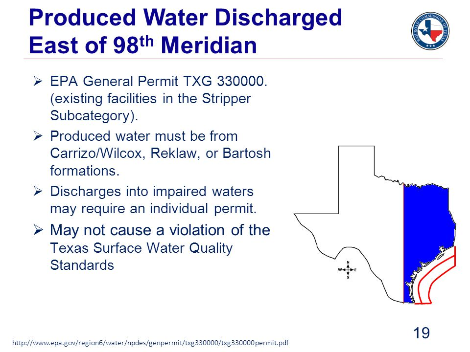 Produced Water Discharged East of 98th Meridian