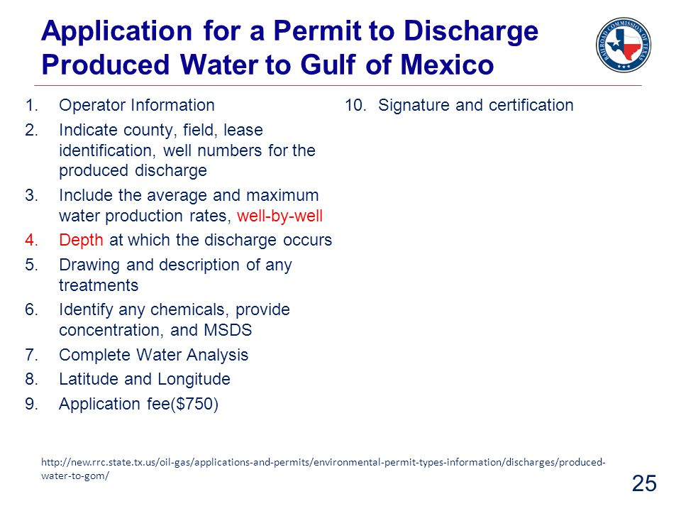Application for a Permit to Discharge Produced Water to Gulf of Mexico