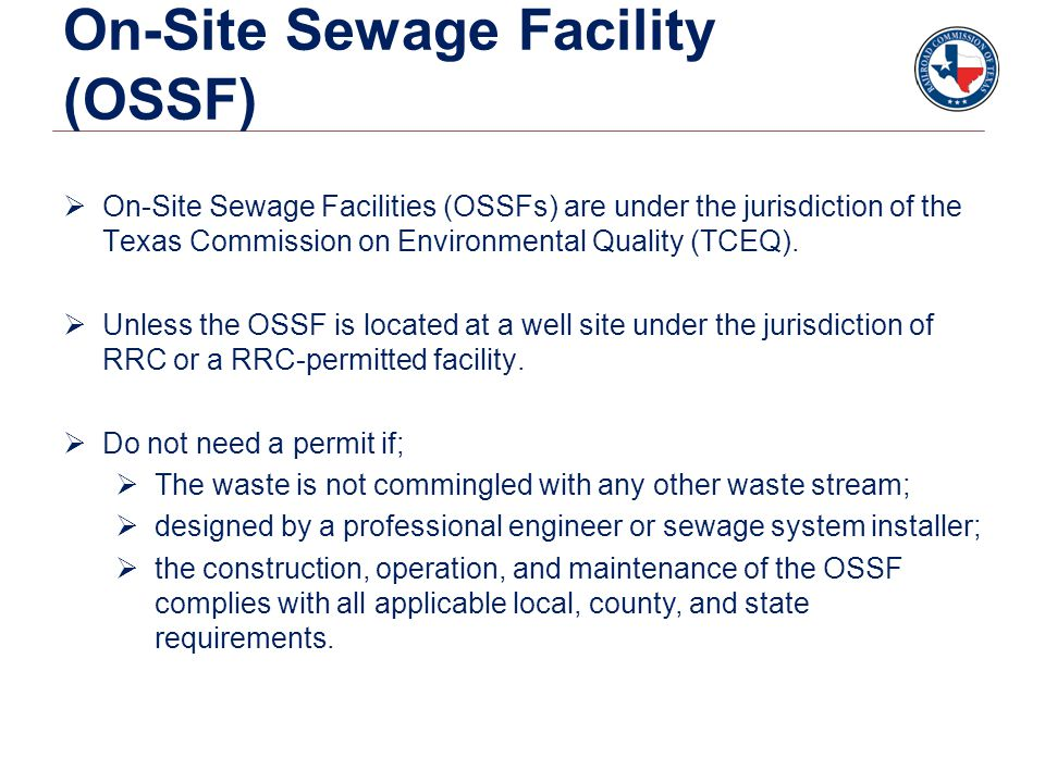 On-Site Sewage Facility (OSSF)