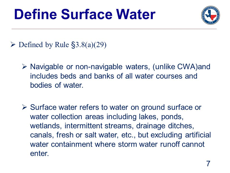 Define Surface Water Defined by Rule §3.8(a)(29)