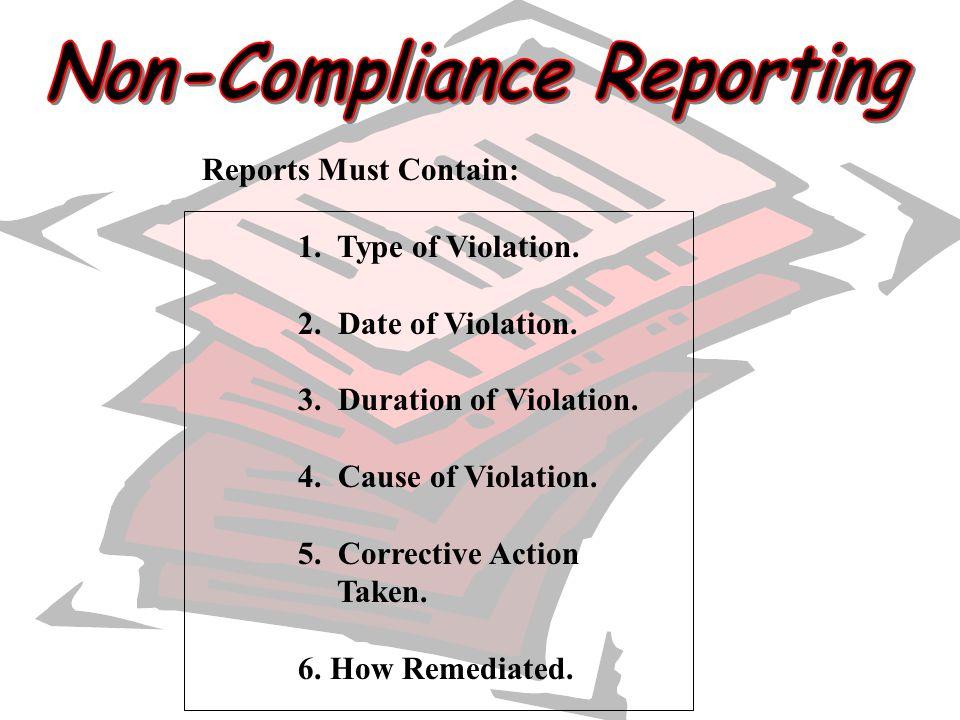 Non-Compliance Reporting