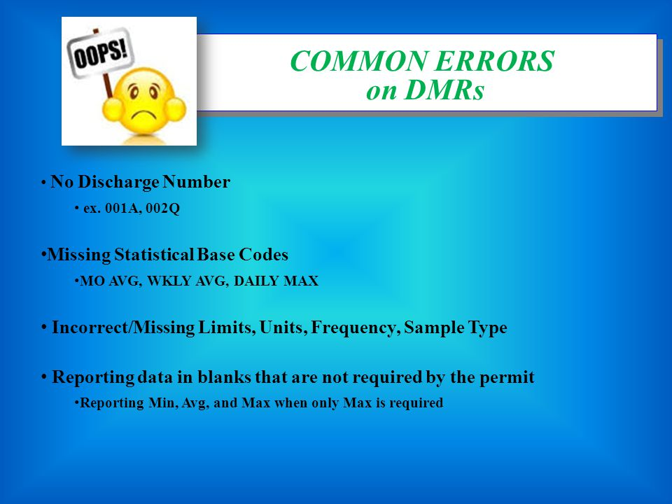 COMMON ERRORS on DMRs Missing Statistical Base Codes