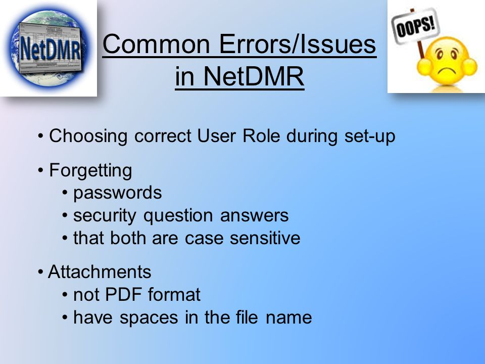 Common Errors/Issues in NetDMR