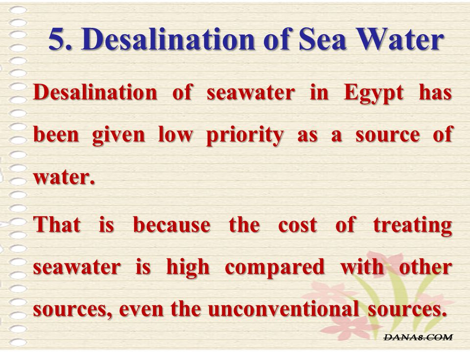 5. Desalination of Sea Water
