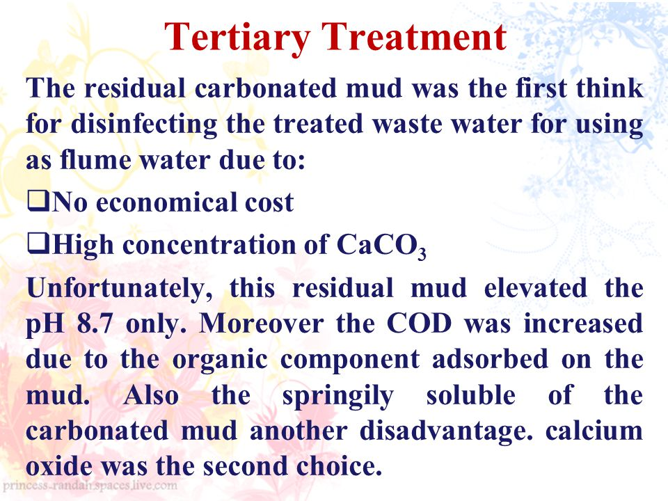Tertiary Treatment The residual carbonated mud was the first think for disinfecting the treated waste water for using as flume water due to: