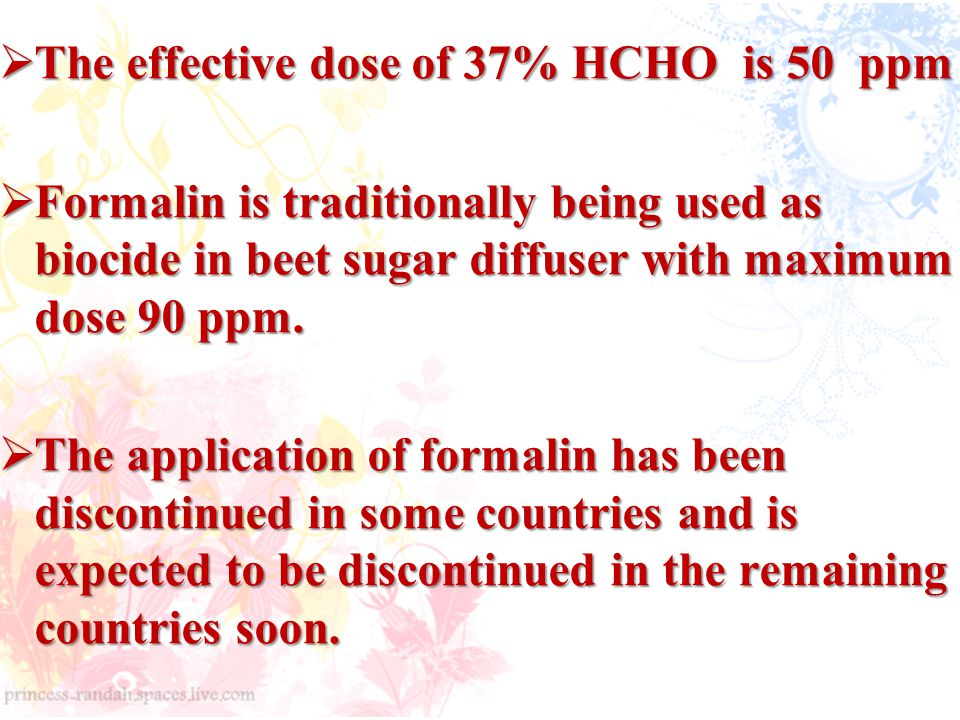 The effective dose of 37% HCHO is 50 ppm