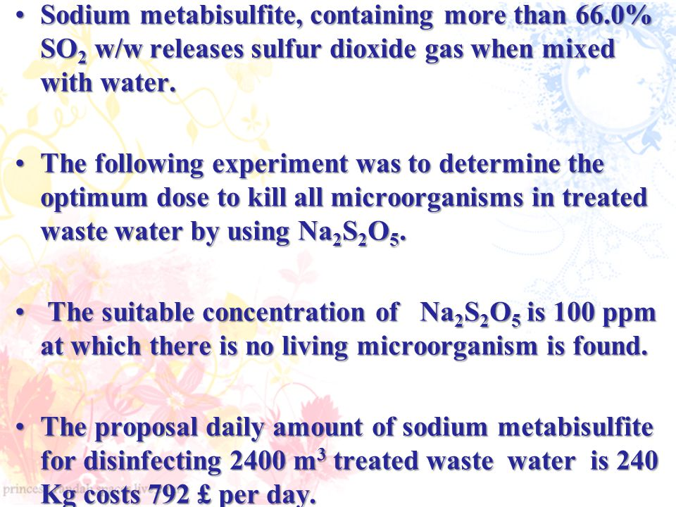 Sodium metabisulfite, containing more than 66