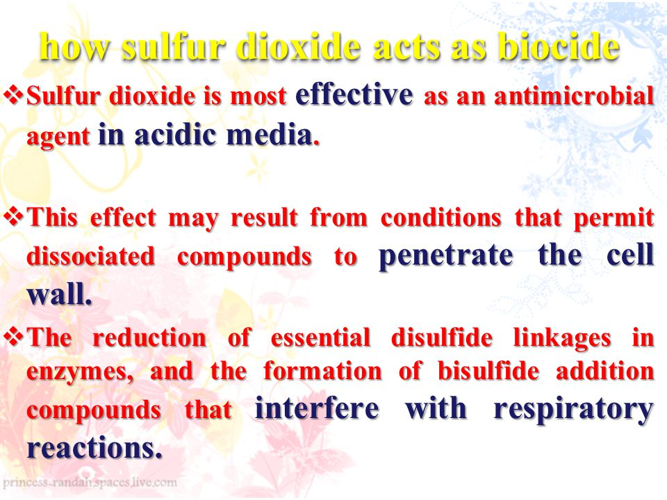 how sulfur dioxide acts as biocide