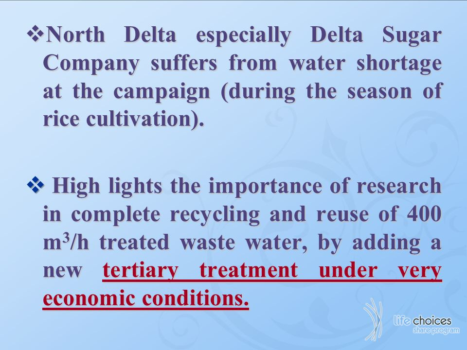 North Delta especially Delta Sugar Company suffers from water shortage at the campaign (during the season of rice cultivation).