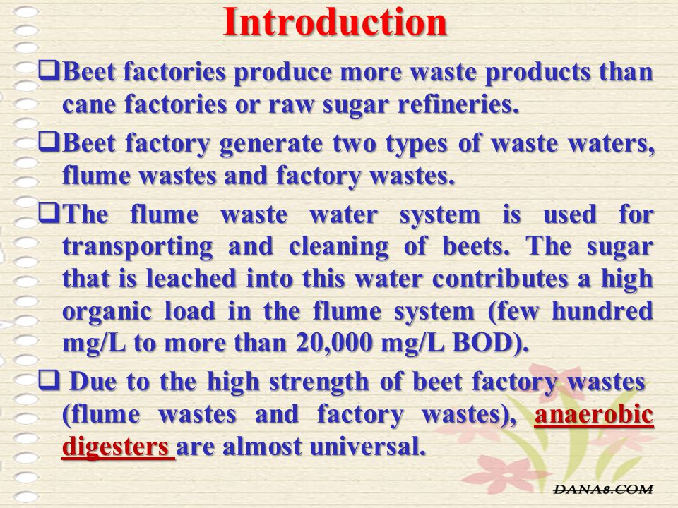 Introduction Beet factories produce more waste products than cane factories or raw sugar refineries.