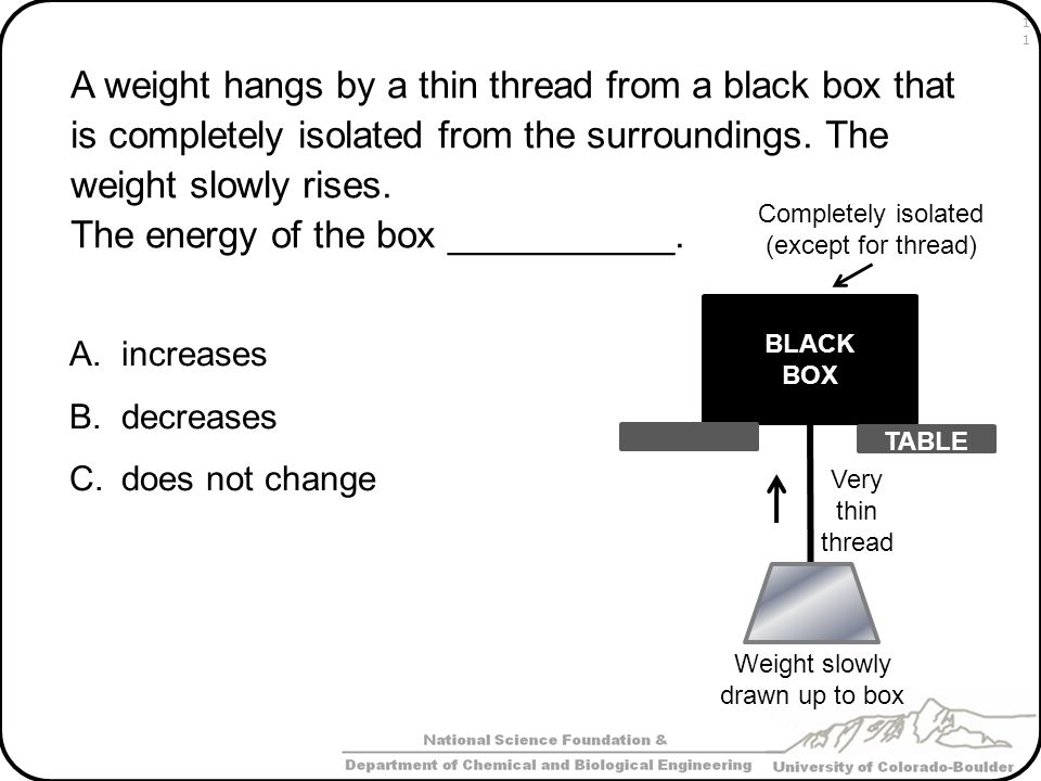 The energy of the box ___________.