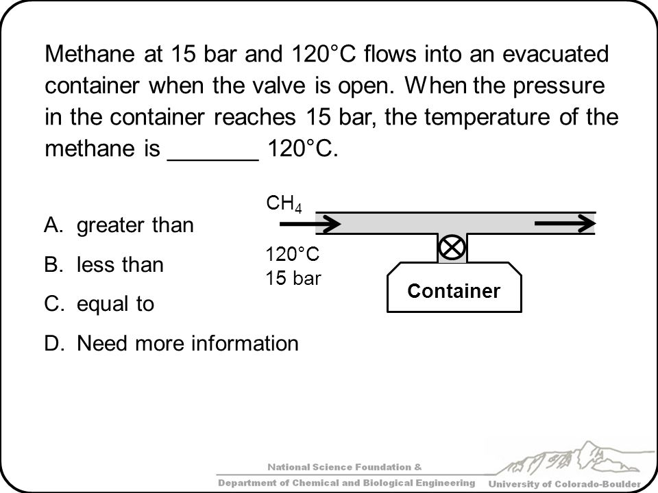 Methane at 15 bar and 120°C flows into an evacuated container when the valve is open. When the pressure in the container reaches 15 bar, the temperature of the methane is _______ 120°C.
