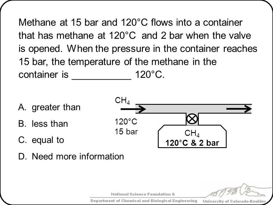 Methane at 15 bar and 120°C flows into a container that has methane at 120°C and 2 bar when the valve is opened. When the pressure in the container reaches 15 bar, the temperature of the methane in the container is ___________ 120°C.