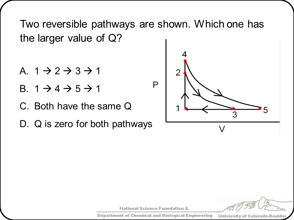 Two reversible pathways are shown. Which one has the larger value of Q