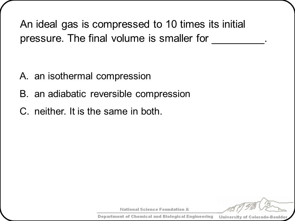 An ideal gas is compressed to 10 times its initial pressure