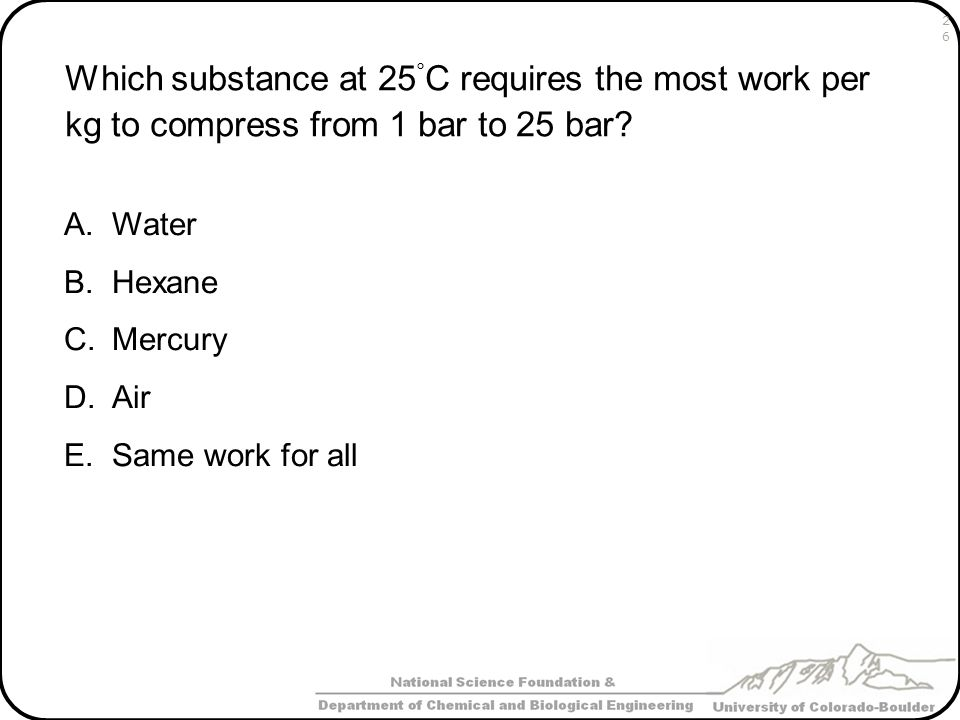Which substance at 25°C requires the most work per kg to compress from 1 bar to 25 bar