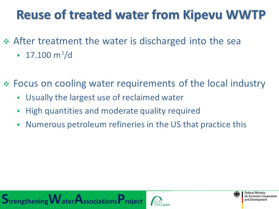 Reuse of treated water from Kipevu WWTP