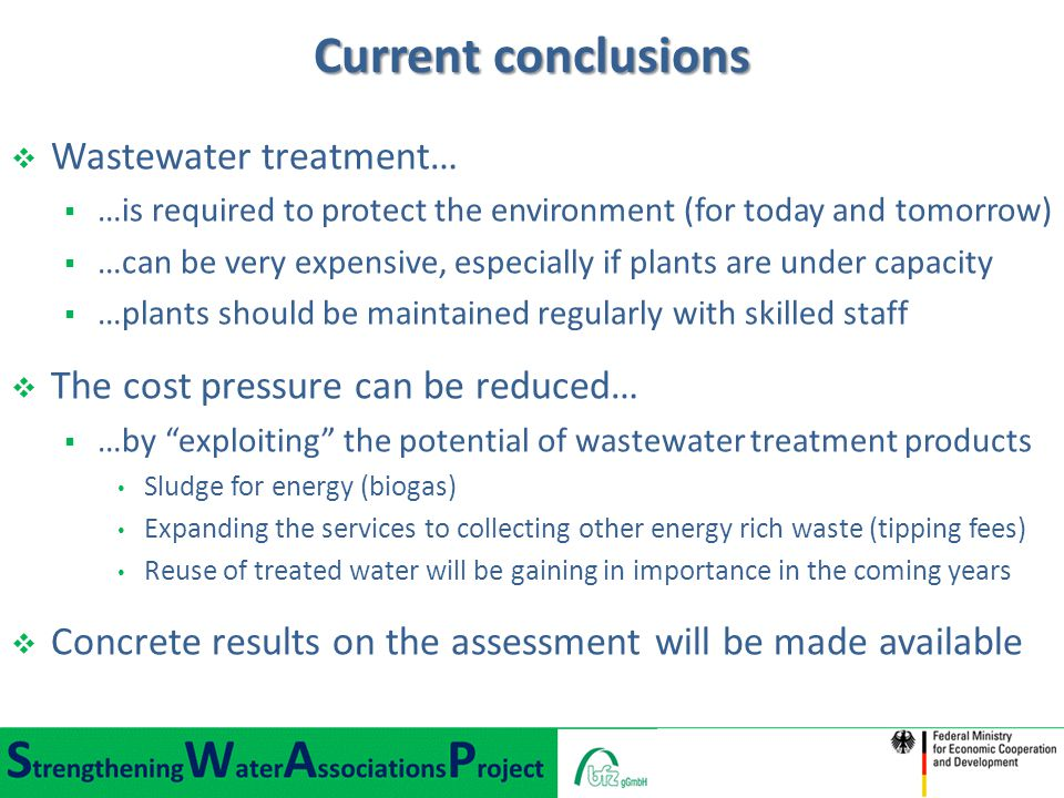 Current conclusions Wastewater treatment…