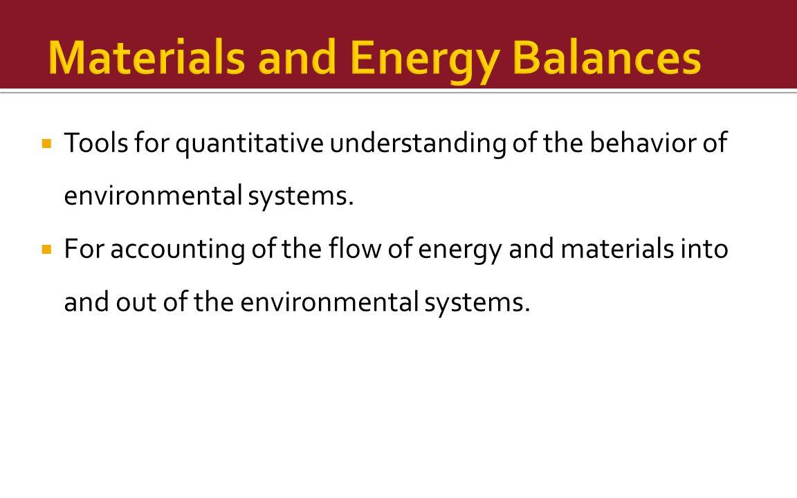 Materials and Energy Balances