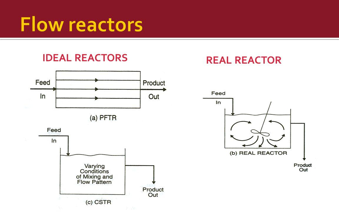 Flow reactors IDEAL REACTORS REAL REACTOR