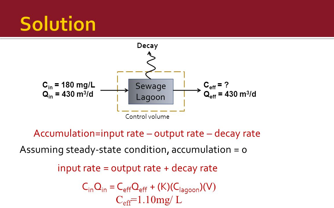 Solution Accumulation=input rate – output rate – decay rate