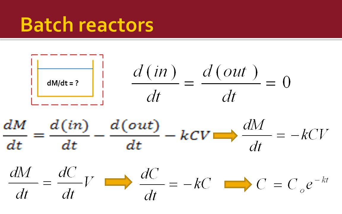 Batch reactors dM/dt =