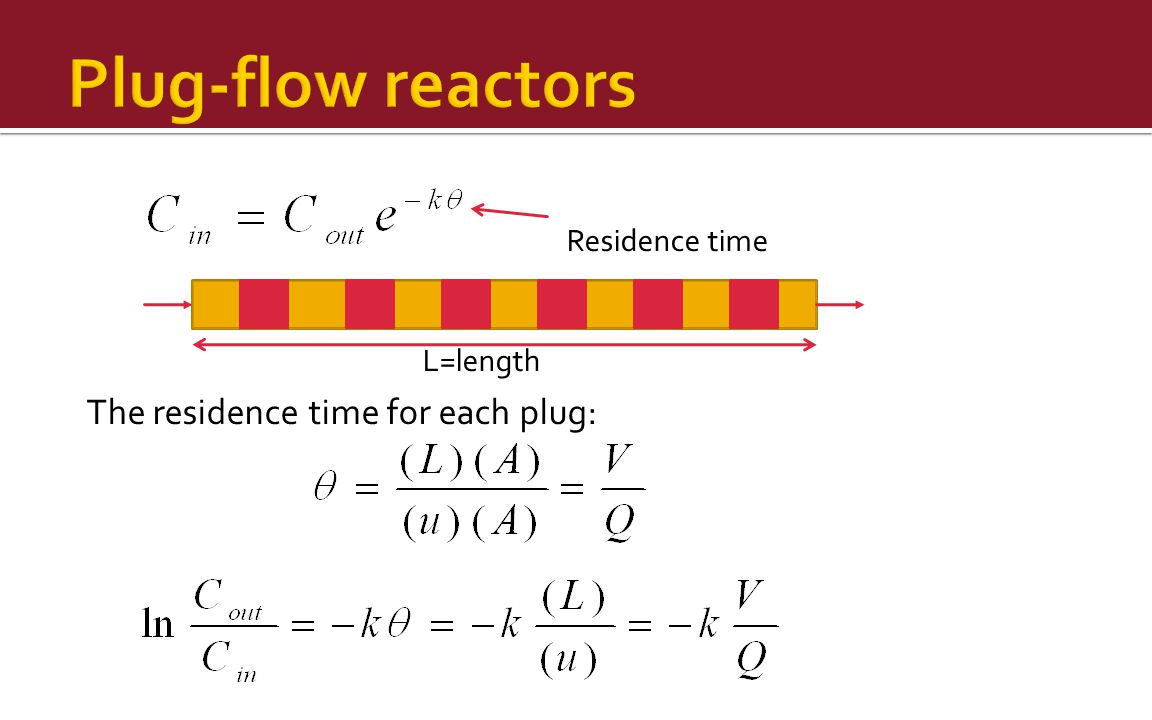Plug-flow reactors The residence time for each plug: Residence time