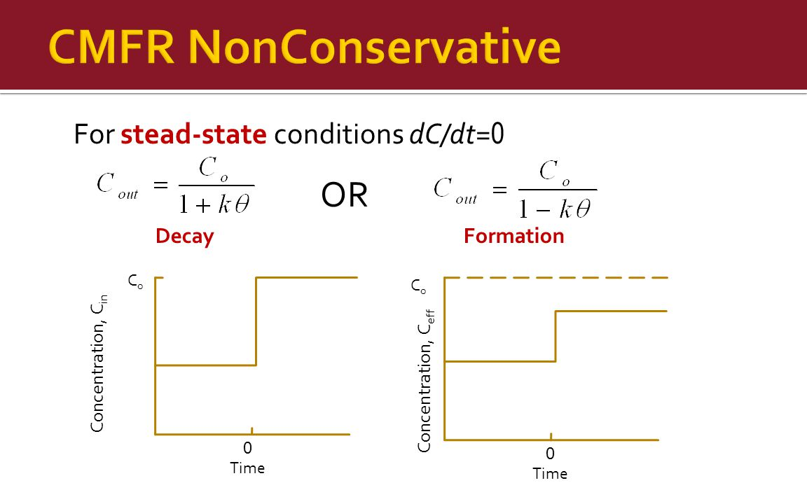 CMFR NonConservative OR For stead-state conditions dC/dt=0 Decay