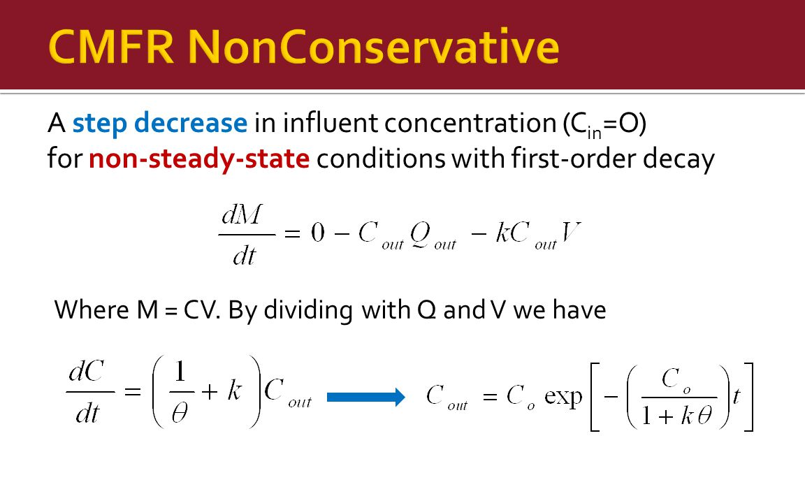 CMFR NonConservative A step decrease in influent concentration (Cin=O)