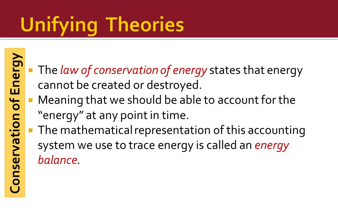 Unifying Theories Conservation of Energy