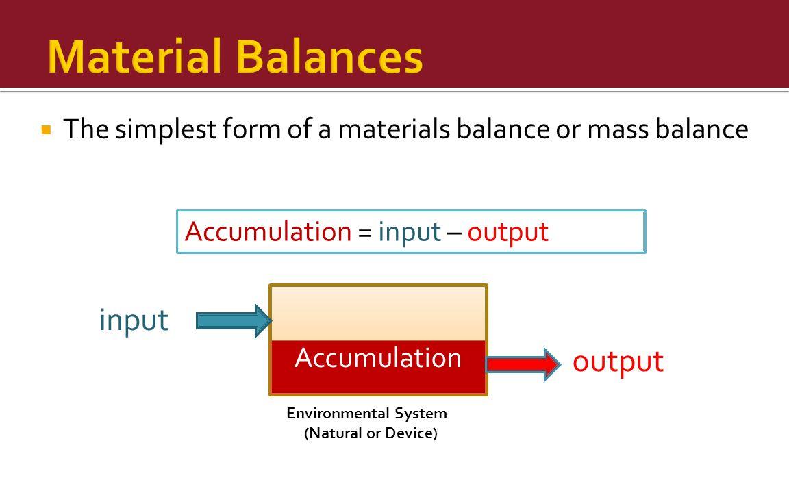 Material Balances input output